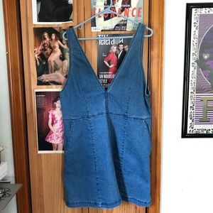 Pinafore style denim dress with pockets